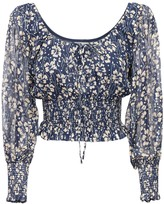Thumbnail for your product : Rixo Helena Silk Crop Top W/ Puff Sleeves