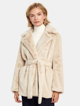 Vince Belted Plush Faux Fur Coat