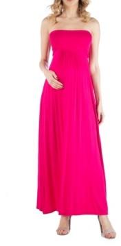 24seven Comfort Apparel Sleeveless Maternity Maxi Dress with Empire Waist and Belt