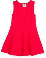 Milly Minis Sleeveless Ribbed Fit-and-Flare Dress, Hot Pink, Size 4-7