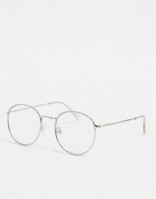 Topman round clear lens sunglasses in black