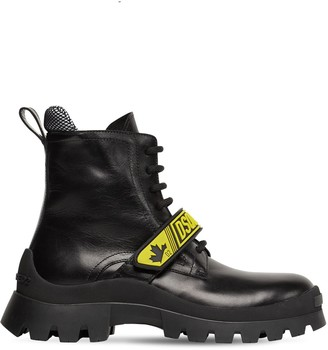 DSQUARED2 30mm Fluo Signature Leather Combat Boots