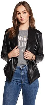 Chaser Matte Vegan Leather Long Sleeve Drape Front Jacket (Black) Women's Clothing