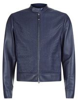Stefano Ricci Woven Panel Leather Jacket
