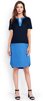 Lands' End Women's Petite Short Sleeve Tunic Dress-Bright Boreal Blue