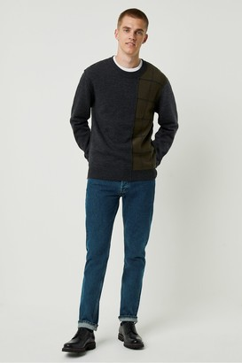 French Connenction Windowpane Check Crew Neck Sweater