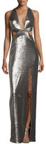 Halston Sleeveless Cutout Metallic Column Gown, Antique Silver