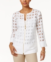 JM Collection Petite Windowpane Illusion Jacket, Created for Macy's
