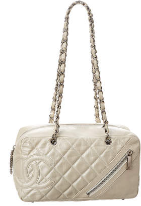 Chanel Silver Quilted Calfskin Leather Cotton Club Bowler Bag