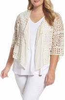 XCVI Plus Size Women's Cosima Cotton Crochet Cardigan