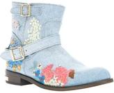 Philipp Plein floral denim boot