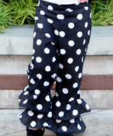 Beary Basics Black Polka Dot Ruffle Pants - Infant Toddler & Girls