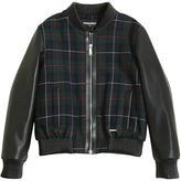 DSQUARED2 Faux Leather & Plaid Bomber Jacket