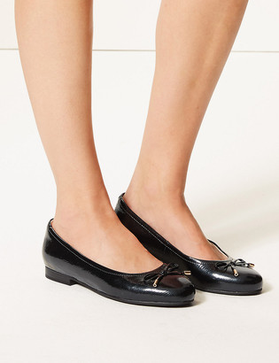 Marks and Spencer Wide Fit Leather Bow Detailed Pumps