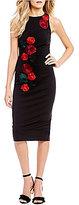 Betsey Johnson 3-D Floral Applique Midi Sheath Dress