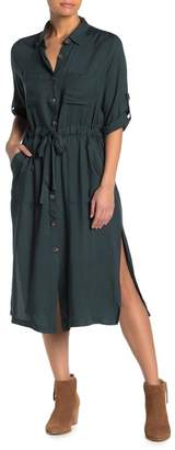 Lush Buttoned Drawstring Waist Utility Midi Dress