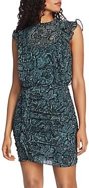 1 STATE 1.state Sleeveless Ruffled Snakeskin Print Dress