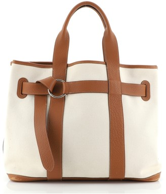 Hermes Petit Ceinture Tote Toile with Leather MM