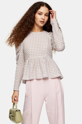 Topshop Womens Lilac Check Seersucker Gathered Sleeve Blouse - Lilac