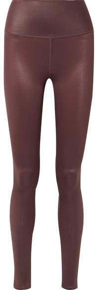 Alo Yoga Airbrush Metallic Stretch Leggings - Dark brown