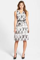 Halogen Belted Pleat Print Fit & Flare Dress (Petite)