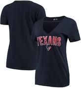 New Era Women's Navy Houston Texans Gradient Glitter Choker V-Neck T-Shirt