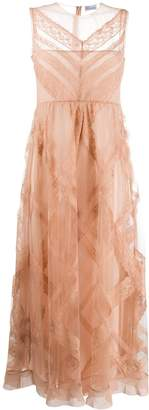 RED Valentino diagonal check sheer dress