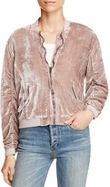 Free People Ruched Velvet Bomber Jacket