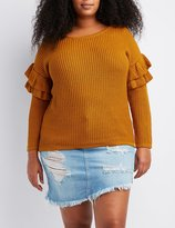 Charlotte Russe Plus Size Shaker Stitch Ruffle-Trim Sweater