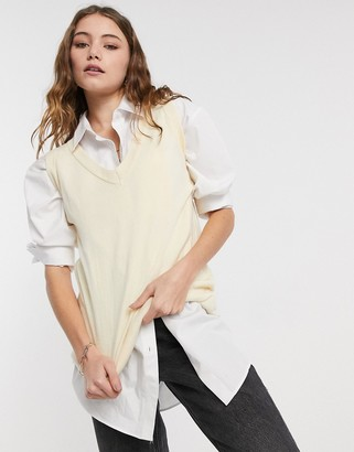 Daisy Street oversized sweater vest with relaxed hem