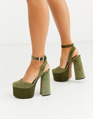Asos Design DESIGN Punch chunky platform high block heels in khaki cord-Green