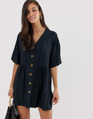 Asos Design DESIGN v neck button through mini smock dress-Black