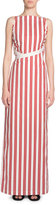 Balenciaga Striped Apron Maxi Dress, Red/White