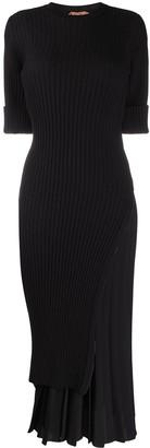No.21 Rib-Knit Asymmetric Dress