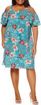 Boutique + + Cold Shoulder A-Line Dress-Plus