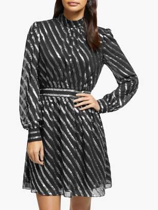 Michael Kors MICHAEL Mock Neck Dress, Black/Silver