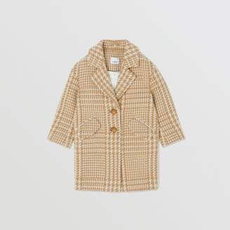 Burberry Houndstooth Check Technical Wool Coat