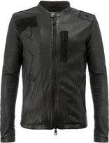 Giorgio Brato patchwork zipped jacket - men - Silk/Leather/Polyester/Spandex/Elastane - 48