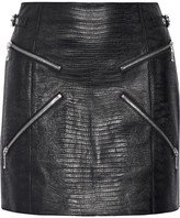 Alexander Wang Zip-embellished Lizard-effect Leather Mini Skirt - Black
