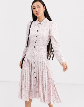 Rachel Antonoff pleated martini waiter print shirt midi dress