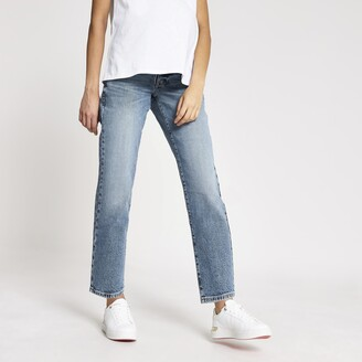 River Island Womens Blue straight leg overbump maternity jeans