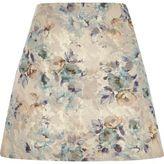 River Island Womens Cream floral jacquard mini skirt
