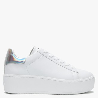 Ash Cult White Leather Silver Rainbow Flash Flatform Trainers