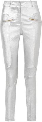 Sies Marjan Brin Zip-detailed Metallic Textured-leather Skinny Pants