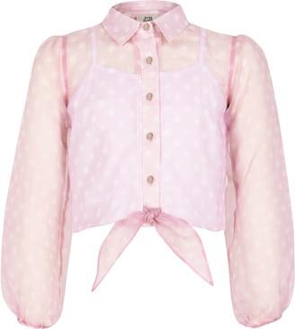River Island Girls Pink polka dot organza tie shirt