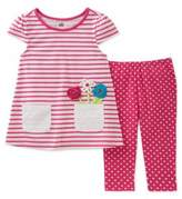 Kids Headquarters Baby Girls Floral Contrast Top and Bottom Two-Piece Set