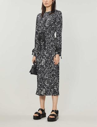Topshop Abstract-print satin midi dress