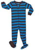 Chocolate & Blue Stripe Sleeper Footie - Infant