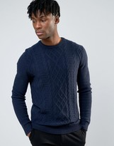 Asos Lambswool Rich Cable Sweater in Navy Marl