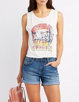 Charlotte Russe Palm Springs Graphic Muscle Tee